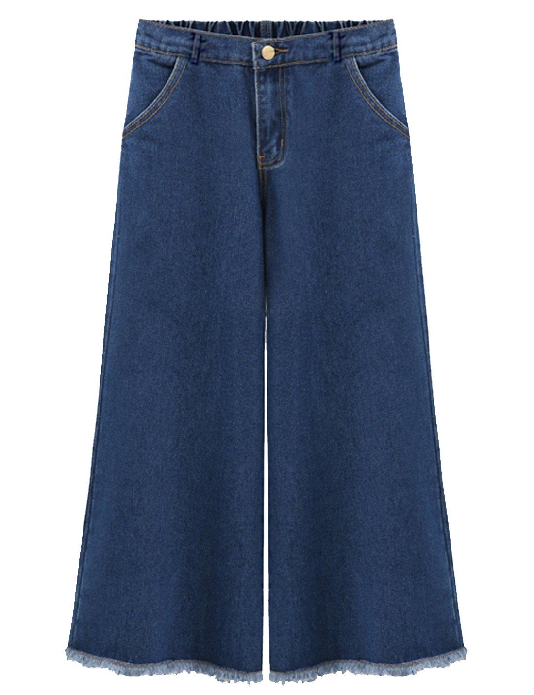 Flygo Women's Elastic Waist Wide Leg Frayed Hem Denim Cropped Jeans Pants (18W-20W, Dark Blue)