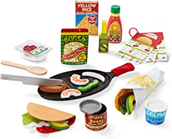 Melissa & Doug Fill & Fold Taco & Tortilla Set (Play Food, Sliceable Wooden Mexican Play Food, Skillet & More, 43...