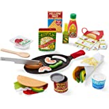 Melissa & Doug Fill & Fold Taco & Tortilla Set, 43 Pieces – Sliceable Wooden Mexican Play Food, Skillet, and More