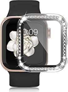 Waspo Apple Watch Case with Tempered Glass Screen Protector Compatible for Series SE/6/5/4 40mm, Anti-Scratch Bumper Hard PC Full Protective iwatch Cover Diamond Rhinestone Bling Frame for Women Girls