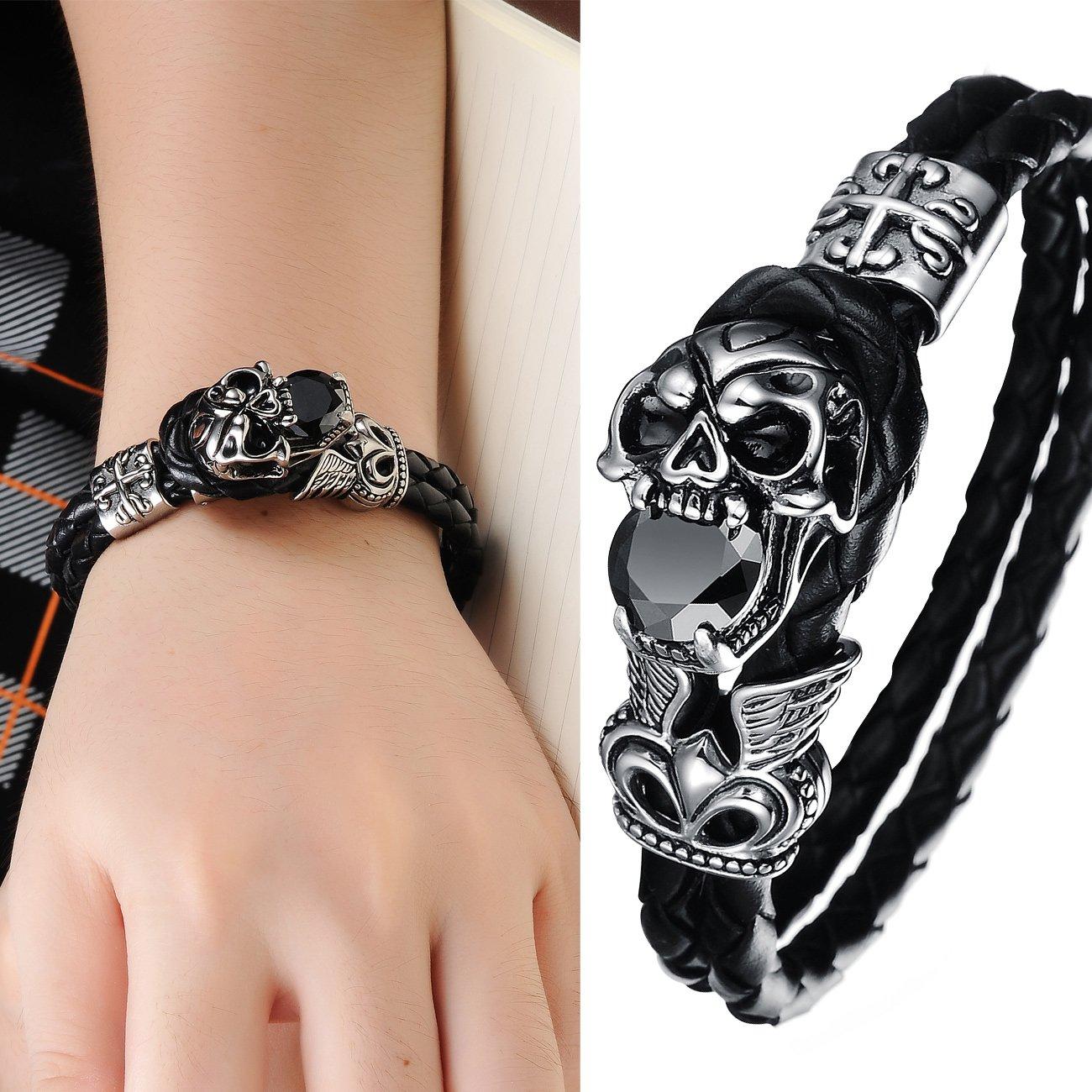 Keybella Bracelet PU Punk Rock Devil Skull Stainless Steel Silver Black Man Wristband Boys Gift
