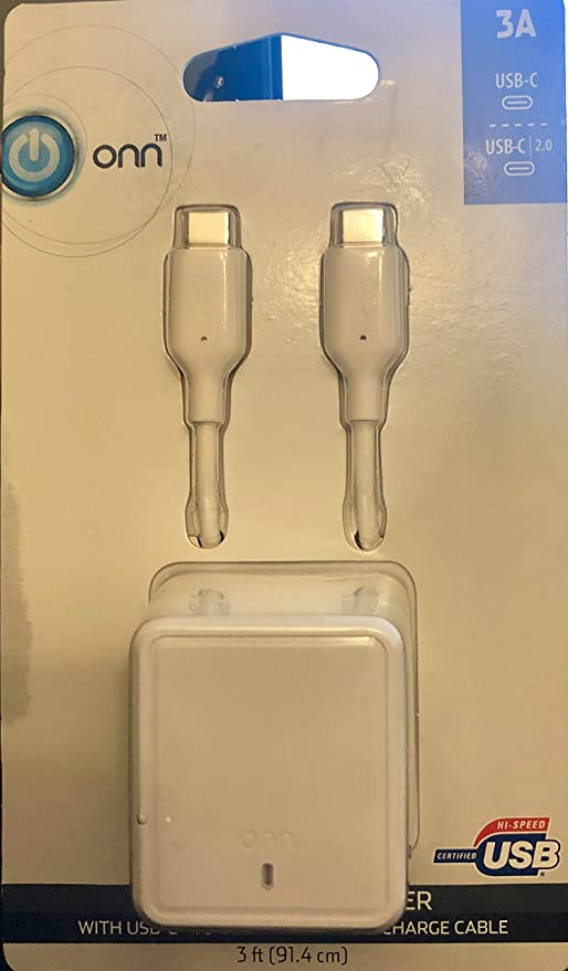 onn USBC Wall Charger with USB-C to USB-C 2.0 Synch /& Charge Cable