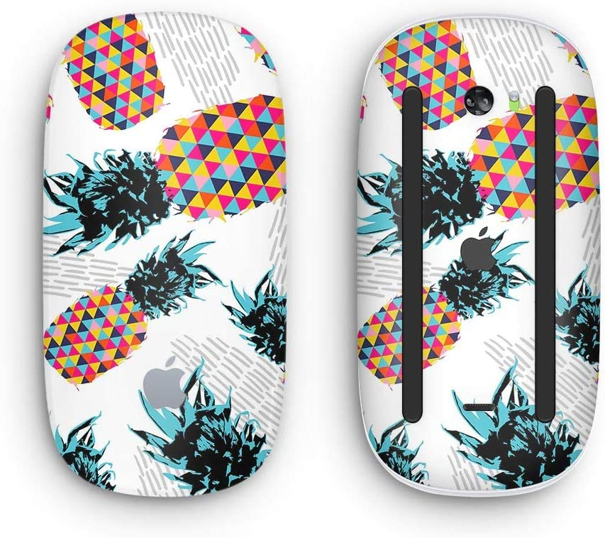Retro Summer Pineapple v3 with Multi-Touch Surface Wireless, Rechargable Design Skinz Premium Vinyl Decal for The Apple Magic Mouse 2