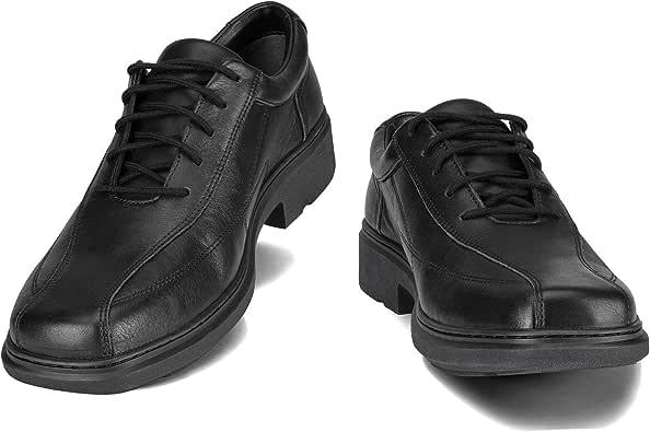 Helios Eous Mens Dress Shoes Workforce Shoes Lace Up Leather Slip Resistance Black Brown 3 Widths-E-Narrow Fit