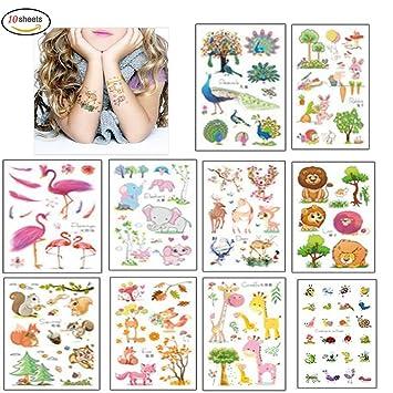 Morkia Tatuajes Temporales Para Niños Niñas, 100pcs Dibujos Animados Animales Perfecto Para piñata Niños Infantiles Fiesta de Cumpleaños Regalo Bolsas ...