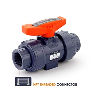 "HYDROSEAL Kaplan 1"" PVC True Union Ball Valve Threaded (NPT) with Full Port, ASTM F1970, EPDM O-Rings and Reversible PTFE Seats (1'')"
