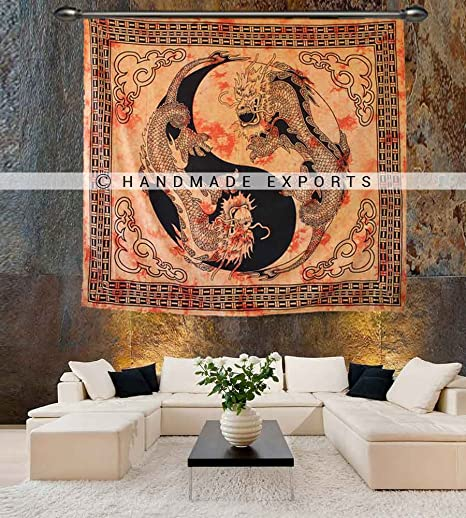 Chinese Dragon Tapestry Bohemian Wall Hanging, Chinese Wall Art,Yin ...