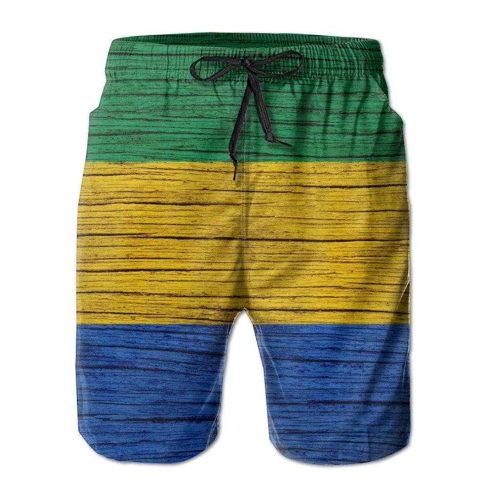 HFSST Gabon Wooden Texture Gabonese Flag Men Kid Male Summer Swimming Pockets Trunks Beachwear Asual Shorts Pants Mesh