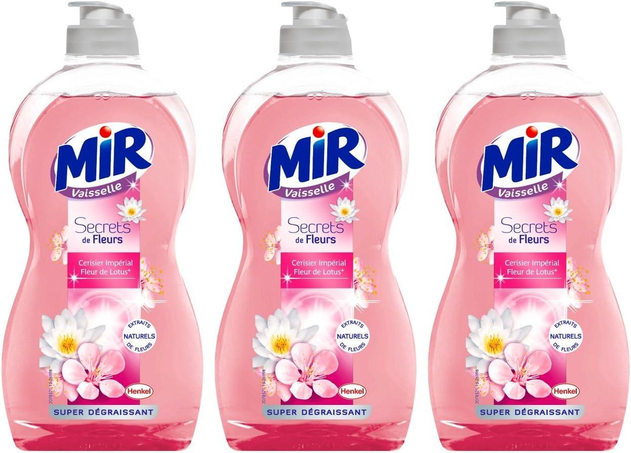 Mir Secrets de Fleurs- Lote de 3 botellas de lavavajillas líquido ...