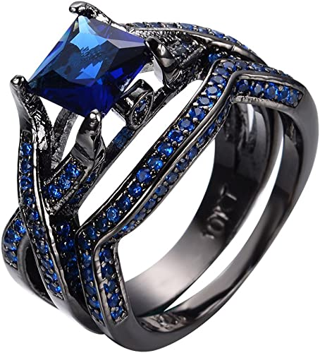JunXin Black Gold February Amethyst Purple Birthstone Ring Round Cut Size6//7//8//9//10