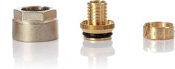 auf 15 mm Kupfer-Messing-Rohrkupplung 16 mm Kunststoffrohr Fu/ßbodenheizungsrohr