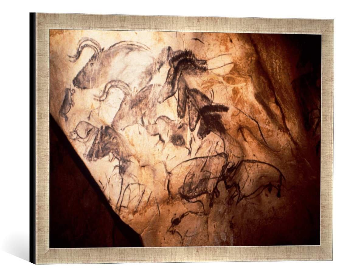 Gerahmtes Bild von Gemeinde Vallon-Pontd'Arc Combe d'Arc Höhlenmalerei Combe d'Arc, Kunstdruck im hochwertigen handgefertigten Bilder-Rahmen, 60x40 cm, Silber Raya