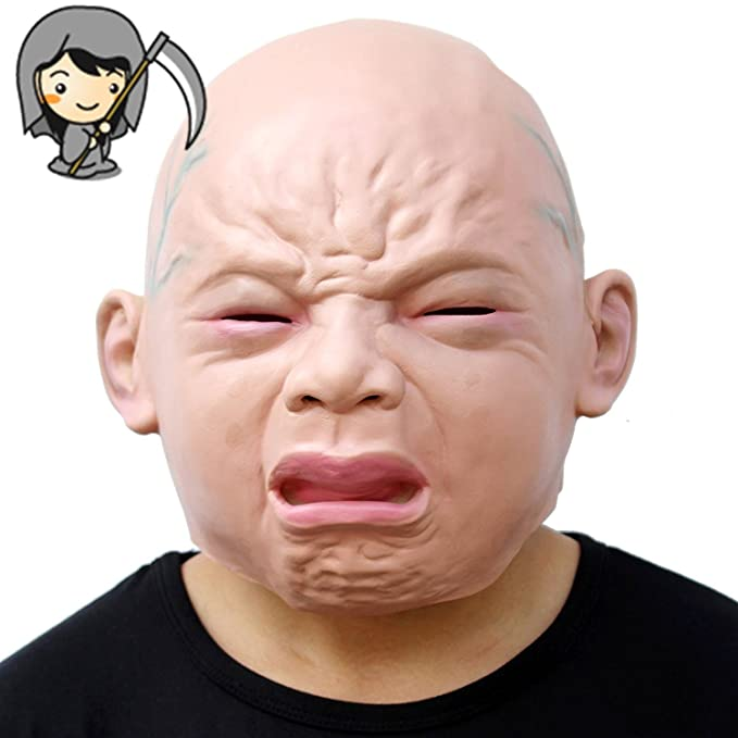 Minglitai Halloween Ugly Crying Baby Face Mask Full Head Funny Party Cosplay Masks Latex Realistic