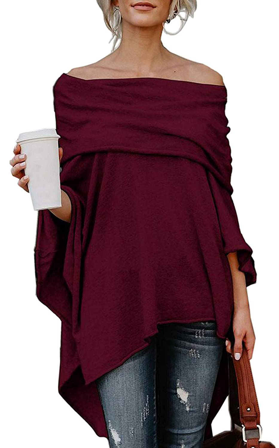 Womens Off Shoulder Irregular Loose Poncho Pullover Batwing Sleeve Tops Blouse