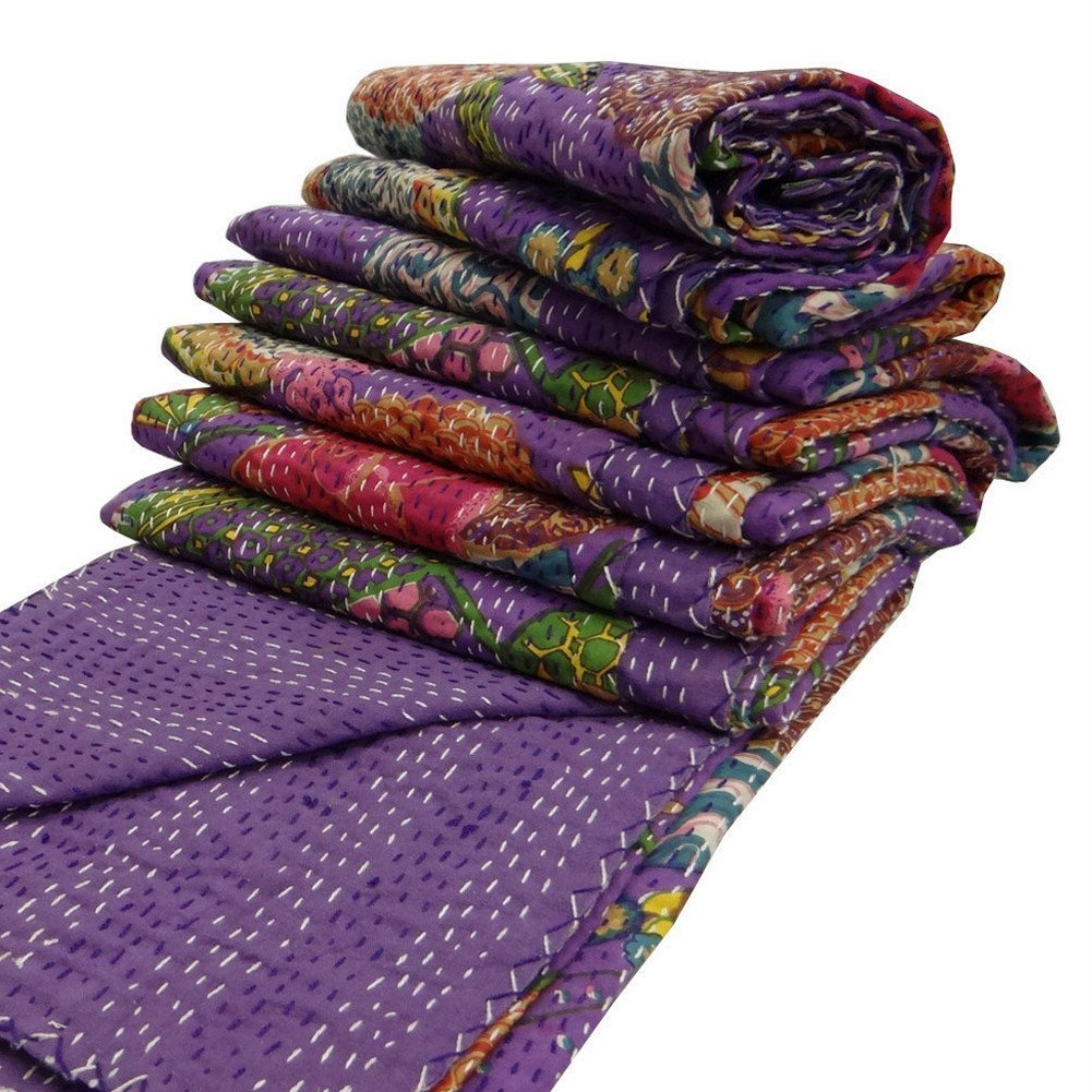 INDIAN CREATIONS India Purple Kantha Quilt King Size Reversible Bedspread Handmade Cotton Floral Bedsheet Home Décor 90'' X 108'' Inches