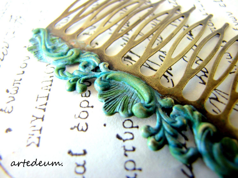 Bridal Hair Comb blue green Verdigris patina Turquoise antique Bronze Vintage Inspired
