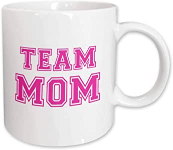 3dRose Team Mom, Hot Pink College Sports Font, Gifts for Mom, Ceramic Mug, 11-Oz