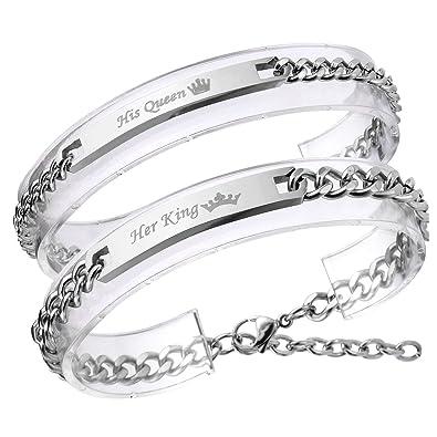 2cbae5be233d9 Zysta Bracelet Couple Acier Inoxydable