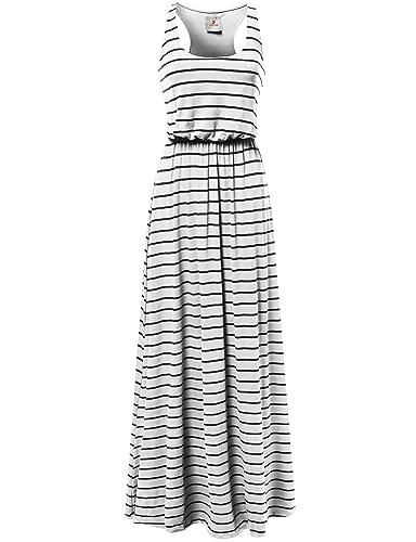 Awesome21 Women's Stripe Sleeveless Tank Racerback Long Maxi Dresses