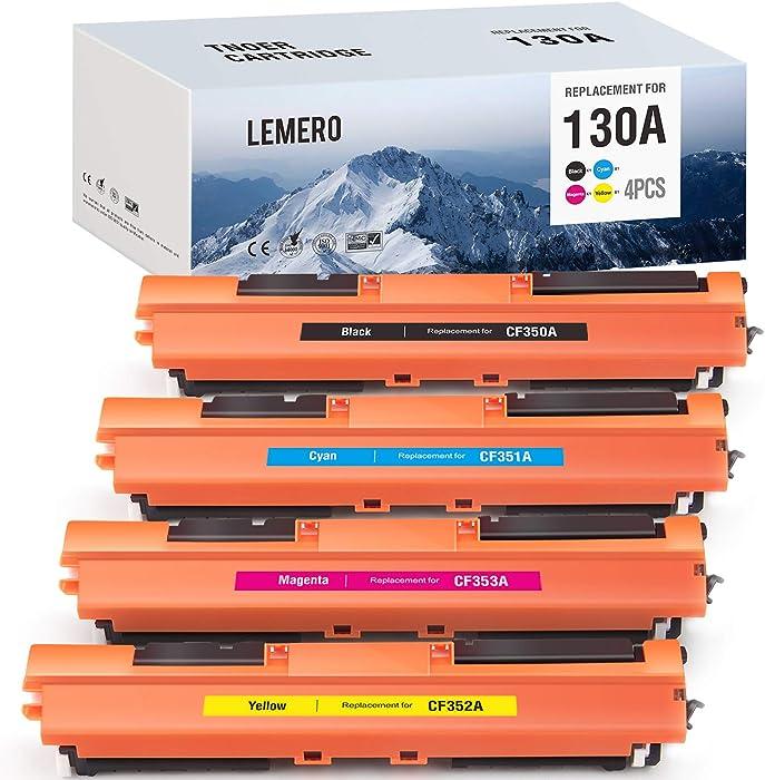 LEMERO Compatible Toner Cartridge Replacement for HP 130A CF350A CF351A CF352A CF353A - for HP Color Laserjet Pro MFP M177fw M176n (Black, Cyan, Magenta, Yellow)