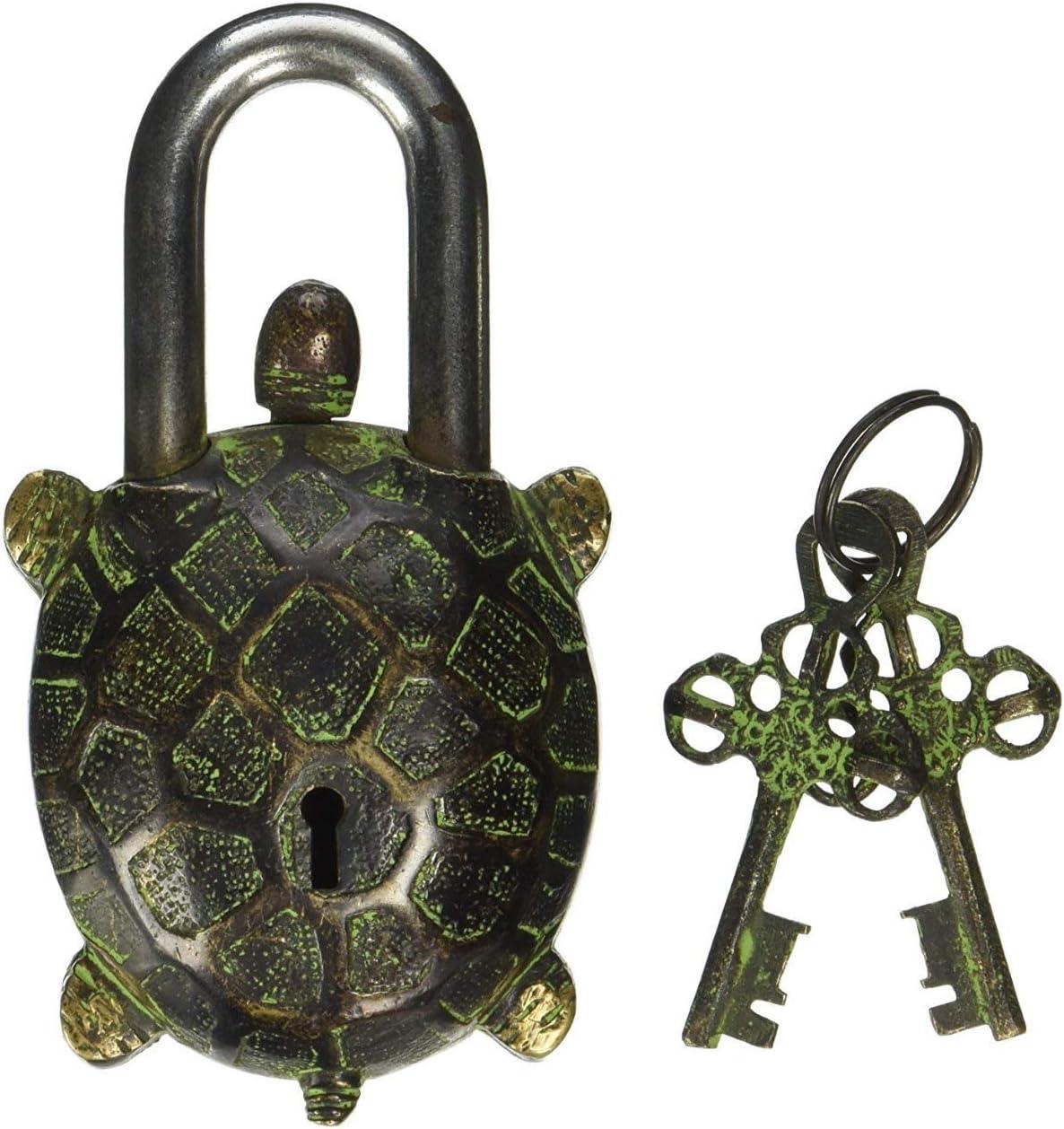 Cadenas en laiton fonctionnel avec deux cl/és Style ancien style Lord Buddha Cadenas Serrure et cl/é fantaisie Fonctionnel Symbole Vastu