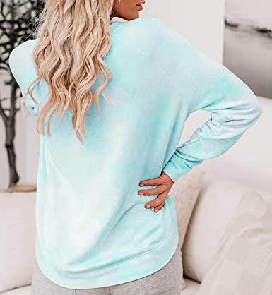 2021 PerhapsRio Women Sweaters Tie Dye Printed Oversized Casual O-Neck Long Sleeve Pullover Sweatshirt Tunic Tops Blouses Loose Fit T-Shirt Outfit Tops