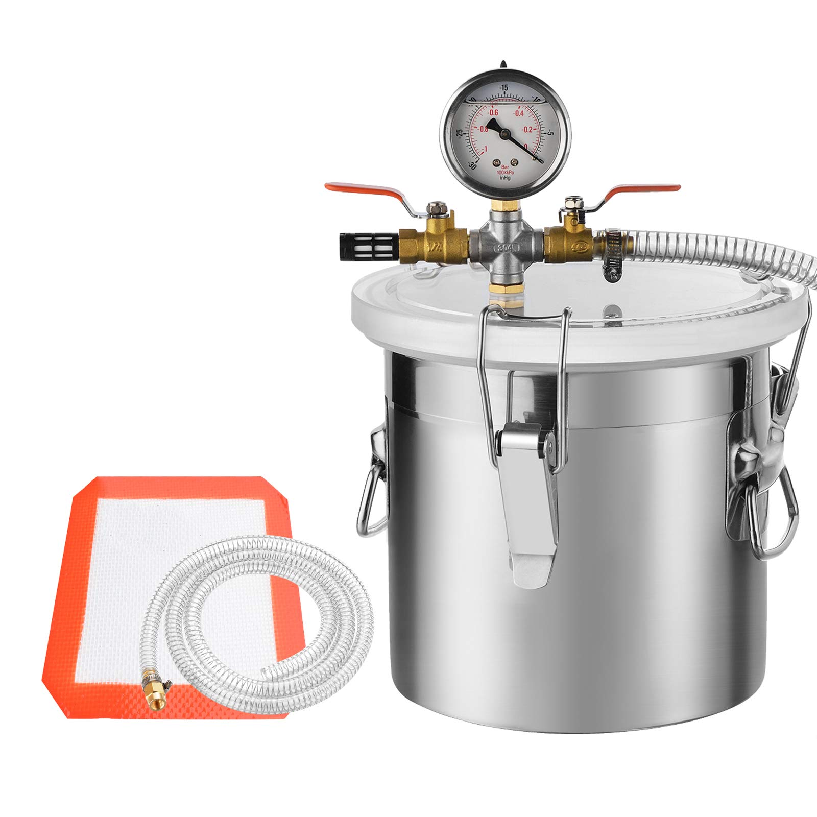 SUNCOO 5 Gallon Stainless Steel Vacuum Chamber for Degassing Urethanes, Resins, Silicones and Epoxies