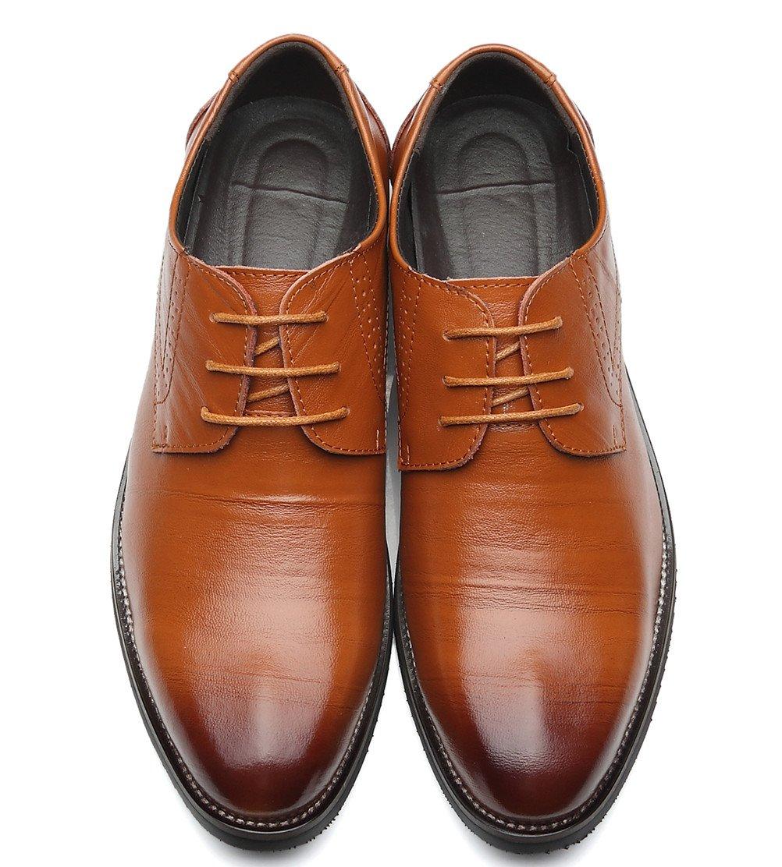 DADAWEN Men's Classic Modern Lace Up Wingtip Dress Oxfords Shoes Brown US Size 9