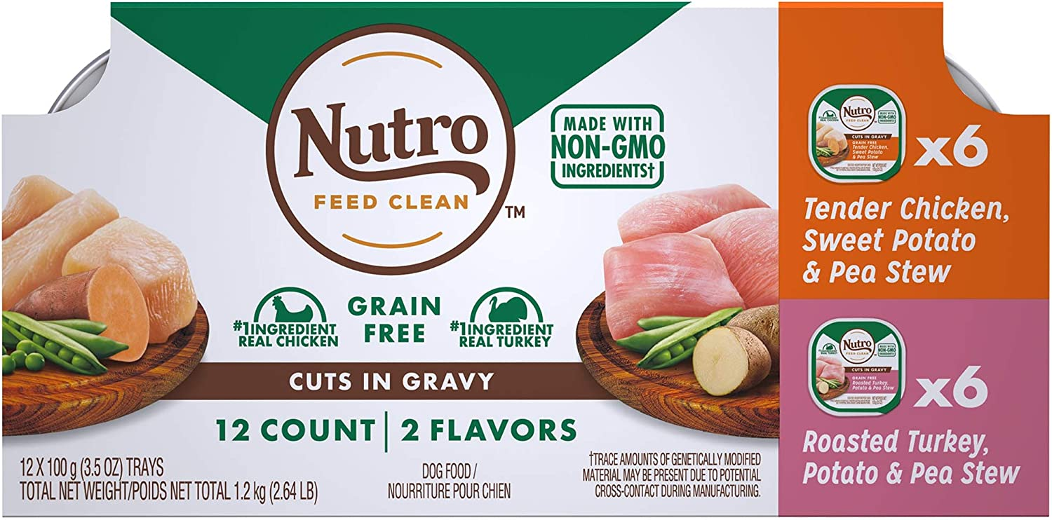 Nutro Cuts in Gravy Grain Free Wet Dog Food, 2 Flavors Pack, Case of 3.5 OZ Trays