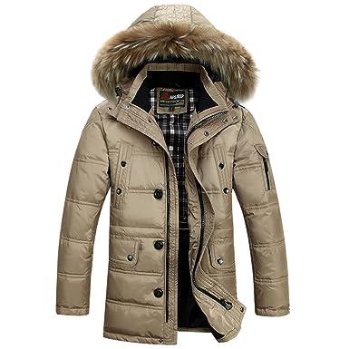 BININBOX® Herren Fashion Daunenmantel Daunenjacke Parka mit Fellkapuze  Wintermantel: Amazon.de: Bekleidung