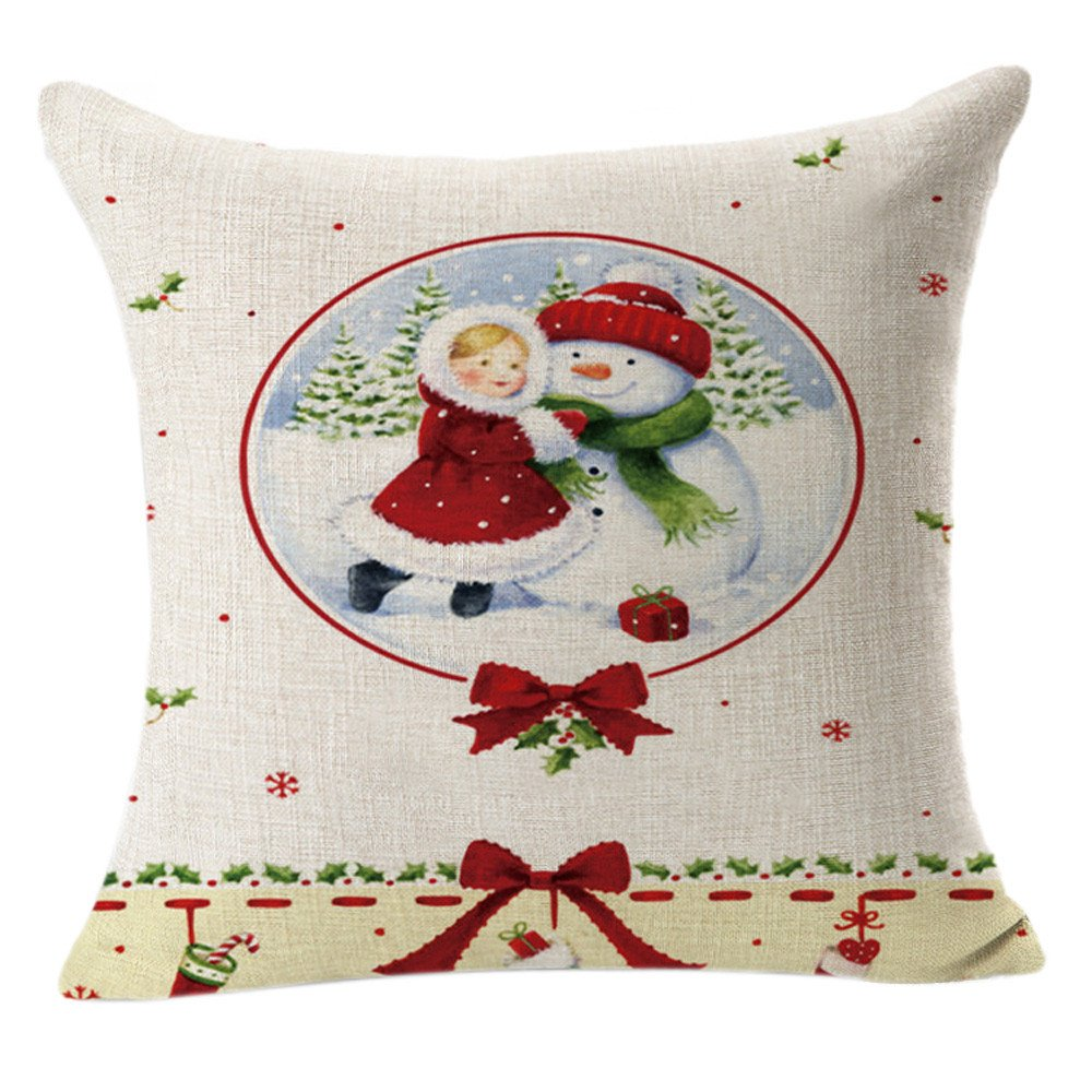 Merry Christmas! Printed Pillow Case,Xmas Party Decor Snowman Letters Pattern Pillowslip Cotton Linen Square Throw Cushion Cover (Free Size, C)