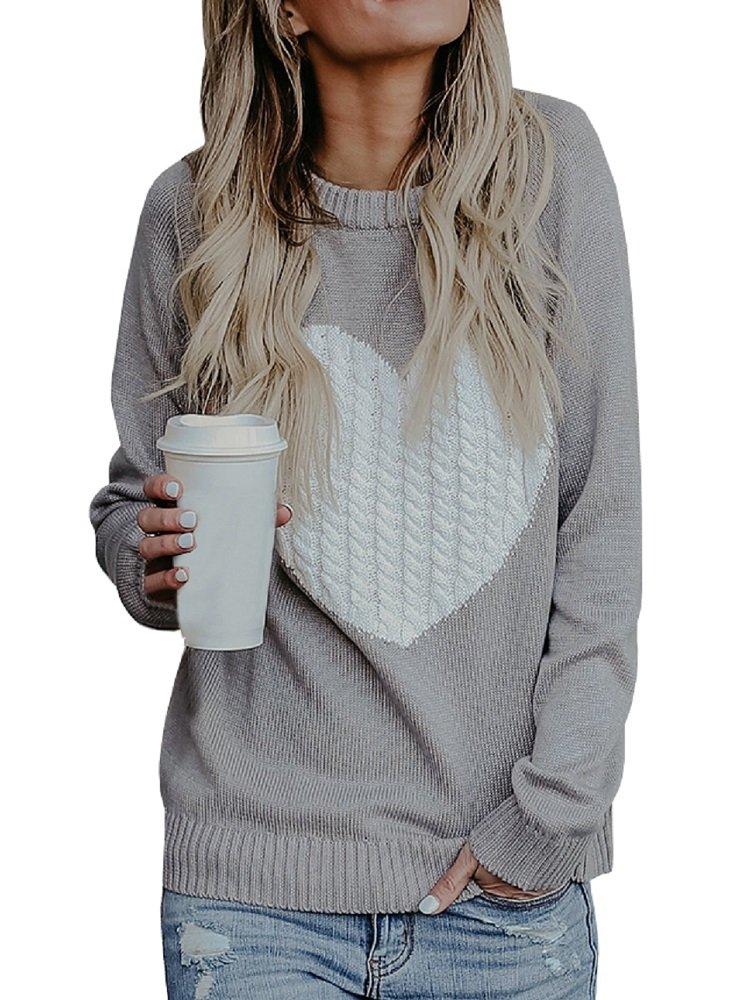 Dellytop Womens Sweaters Cute Heart Crewneck Long Sleeve Pullovers Tops Warm Knit Jumper