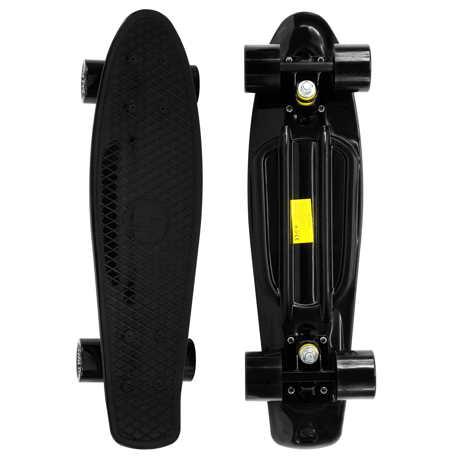 Scale Sports 22'' Skateboard Complete Pastel Street Retro Cruiser Classic Plastic Deck All Black