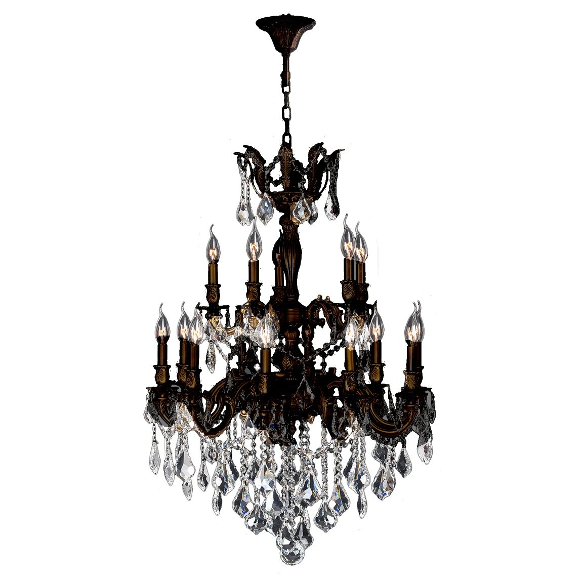 Worldwide Lighting Versailles Collection 15 Light Flemish Brass Finish and Clear Crystal Chandelier 27'' D x 39'' H Two 2 Tier Large by Worldwide Lighting (Image #1)