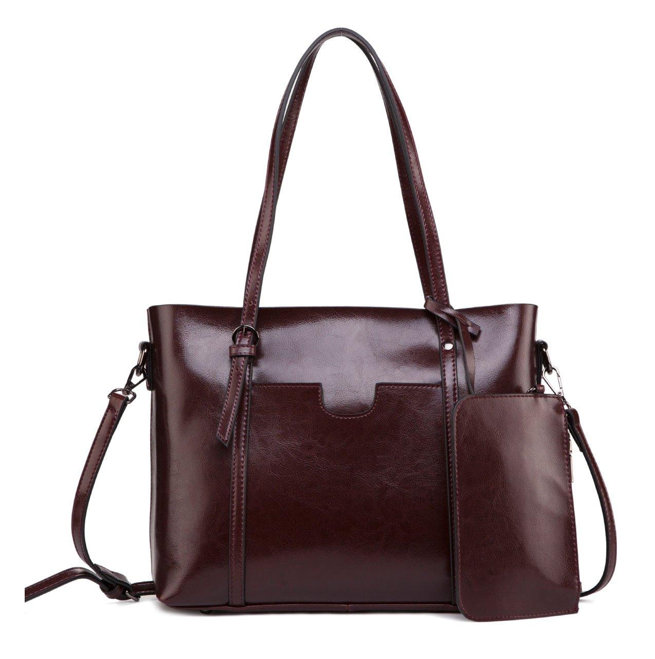 ilishop Genuine Leather Tote Classical Purse Large Capacity Handbag Top Handle Satchel Vogue Cross-bady Shoulder Bag (Winered)