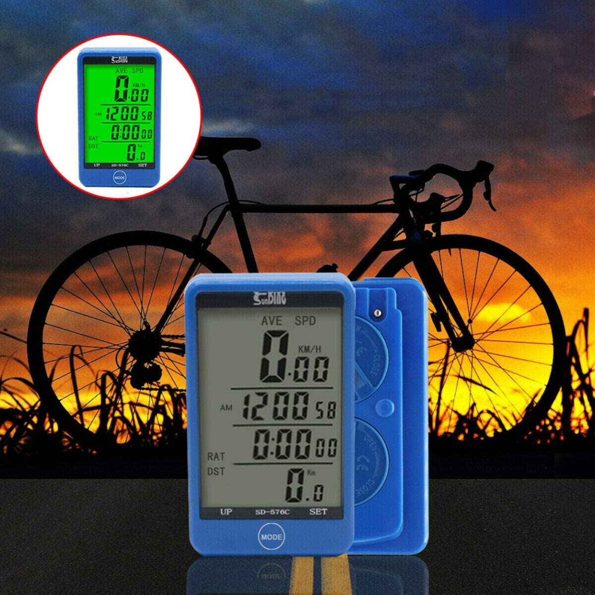 Cycling Odometer with LCD Backlight Display,blue Bicycle Speedometer Waterproof Wireless Bike Computer