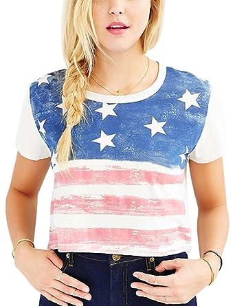 1db673c8 NENDFY Women's American Flag Star Stripe Print Crop Top Juniors Short  Sleeve Cropped T Shirts Tees