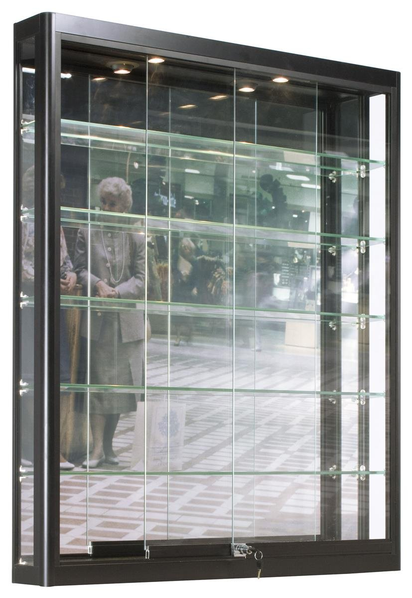 Displays2go Wall Mounted Showcases with Glass Shelving, Aluminum Construction, Sliding Glass Doors, Locking Design – Black (WC3946LEDB)