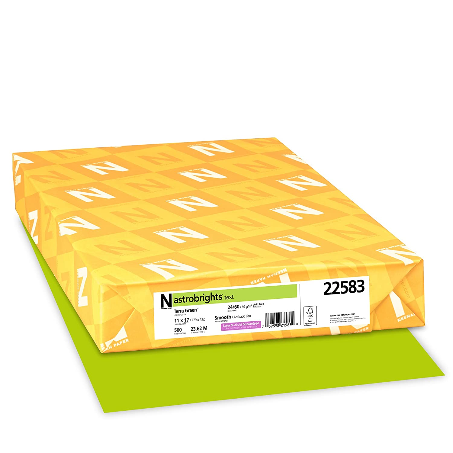 Astrobrights Colored Paper, 24lb, 11 x 17, Terra Green, 500 Sheets/Ream, Sold as 1 Ream