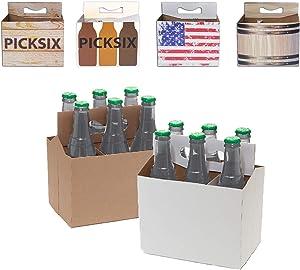 150ct Six Pack Beer Bottle Holder Variety Pack | Sturdy Cardboard Carrier Holds Six Bottles | For Safe and Easy Transport of Beer, Cider and Soda