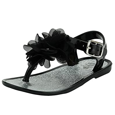 8f6576920bdc20 Stepping Stones Girls Black Glitter Flower Thong Sandal   Jelly Sandals  with Backs-Size 3