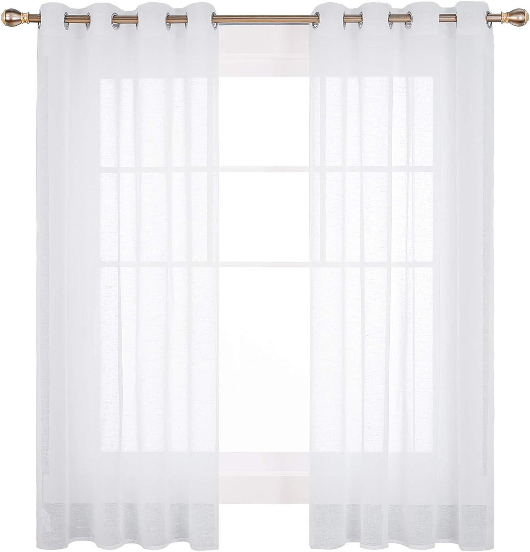 Doconovo Visillos para Ventanas Dormitorio con Ojales 140 x 180 cm ...