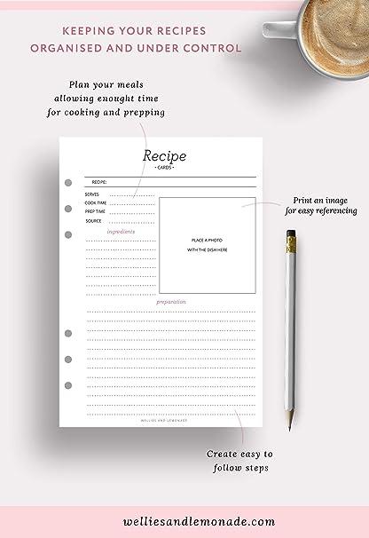 ricariche per ricette inserti Filofax Carpe Diem 60 planner 30 pagine inserti per ricette per Kikki K LV GM modelli di ricette