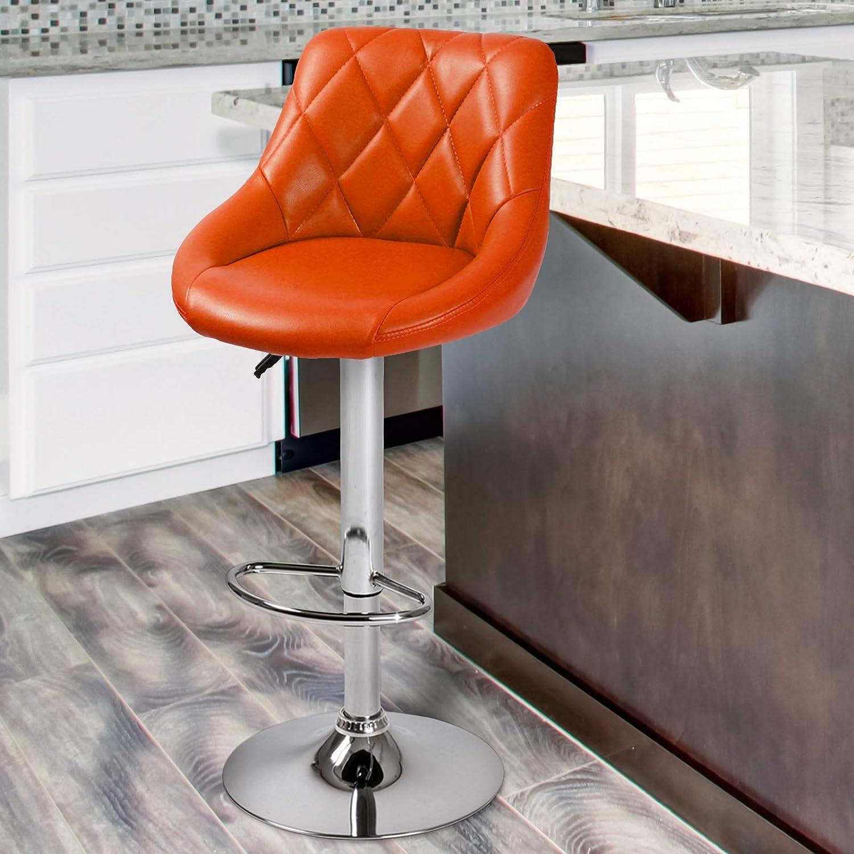 Girevole a 360/° Sgabello da Cucina Acciaio Cromato da Colazione Sedia Alta Arancione, Set da 1 Sgabello da Bar con Schienale Colore//Set a Scelta Poggiapiedi 60-82cm Altezza Regolabile