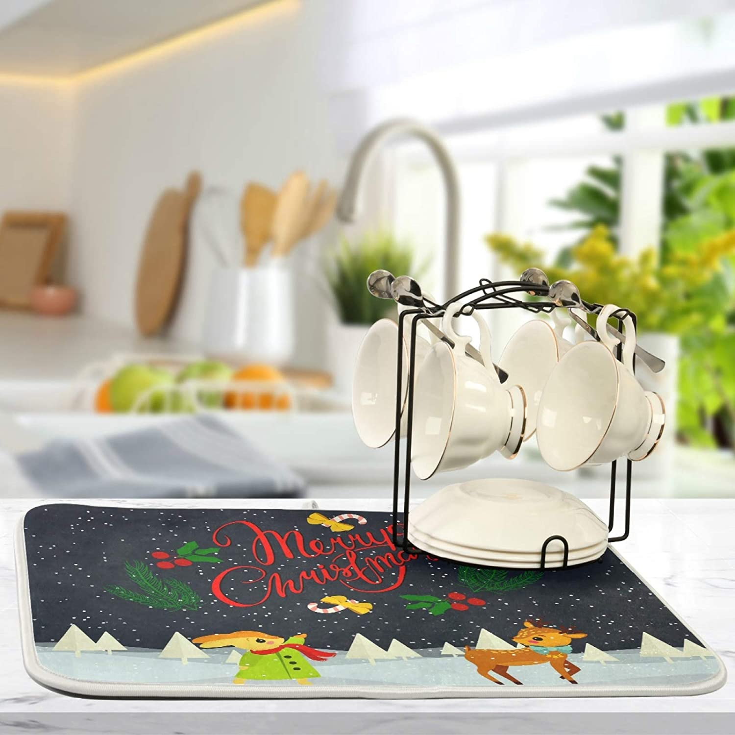 Absorbent Dish Drying Mat Merry Christmas Elk Kitchen Counter Mat Protector,Reversible,Medium 18 x 16 Inches