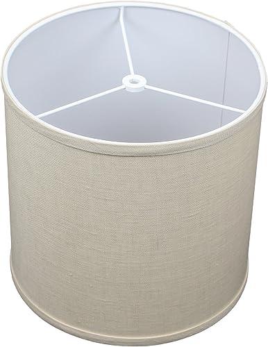 FenchelShades.com 10.5 Top Diameter x 10.5 Bottom Diameter 10.5 Height Cylinder Drum Lampshade USA Made Designer Natural