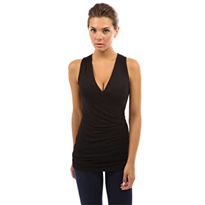 PattyBoutik Women V Neck Ruched Side Tank Top at Women's Clothing store