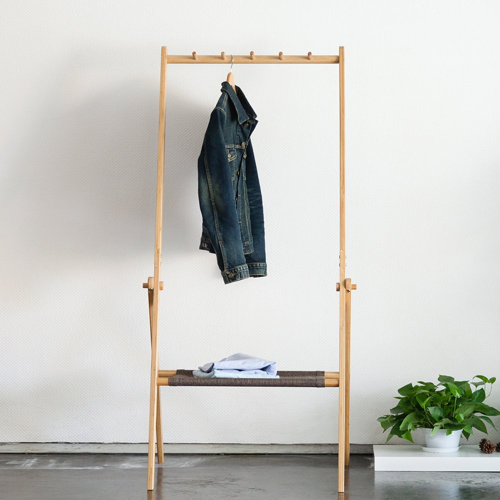 Portable Clothes Storage Rack Bamboo Coat Rack with Storage Shelf Foldable Entryway Organizer