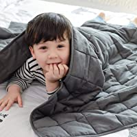 Fabula Life Kids Weighted Blanket(7lbs, 60€x41€) for Kids Weigh Around 60lbs| Cotton Heavy Cozy Blanket| Premium Glass Beads| Calm Deep Sleep