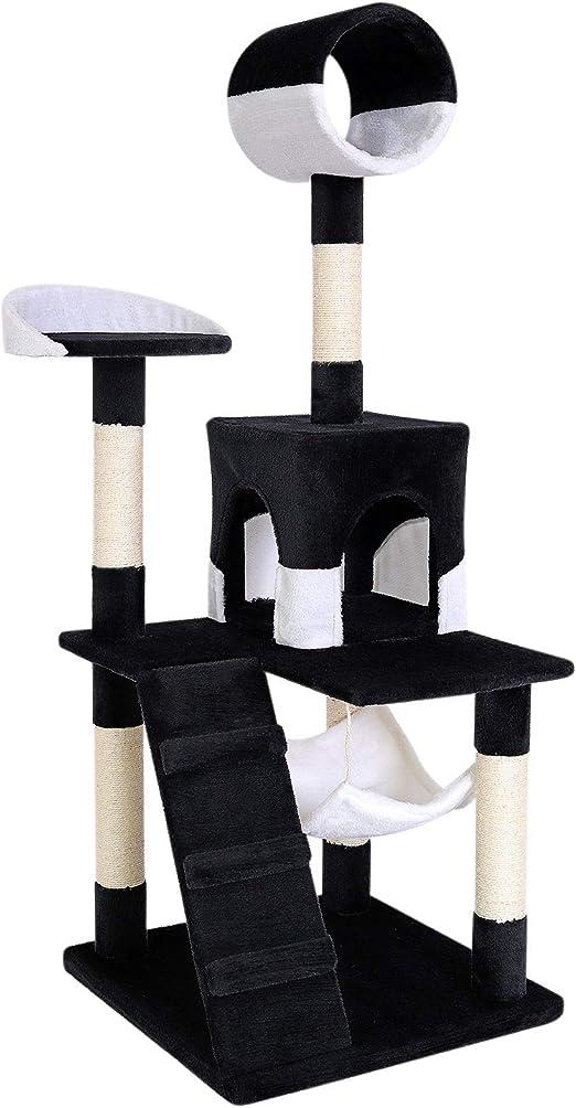Rascador para gatos Árbol escalador arañar Juguete para Mascotas (negro / blanco): Amazon.es: Productos para mascotas